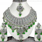 1A Jewellery Silver Plated CZ  Sterling Indian Jewelry Ethnic Kundan Necklace JD25 Green