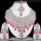 Silver Tone CZ Jewellery Sterling Indian Bollywood Bridal Necklace Jewelry Set JD29 Magenta