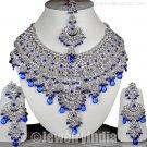 Silver Plated Costume Jewellery CZ Sterling Indian Jewelry designer Kundan Necklace Set JD27 Blue