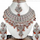 Silver Plated Costume Jewellery CZ Sterling Indian Bridal Jewelry designer Necklace Set JD37 Coffee