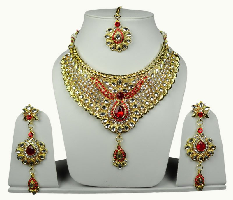 Indian Gold Plated Stones Kundan Necklace Earrings Party: Indian Bridal Party Jewelry Gold Plated Swarovski Diamond