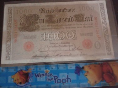 GERMAN 1000 MARK 1910 REICHSBANKNOTE BANKNOTE GERMANY Nr8213248H