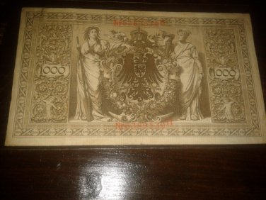 GERMAN 1000 MARK Circulated 1910 REICHSBANKNOTE BANKNOTE GERMANY Nr6389539H