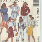 McCall's Pattern 3650-UNCUT-Size B(8-10-12)Misses' shirt,top,Skirt,Pants and Shorts