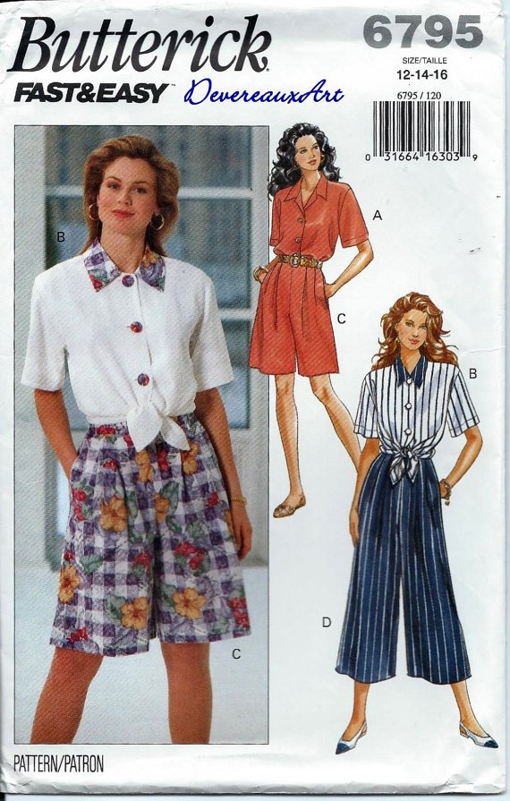 """BUTTERICK """"Fast&Easy"""" Pattern 6795 - UNCUT - Size (12,14,16) - Misses' Shirt, Shorts and Pants"""