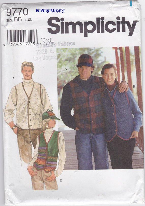 Simplicity Pattern 9770 - UNCUT-Size BB (L,Xl) - Misses, Men and Teen Vest and Hat