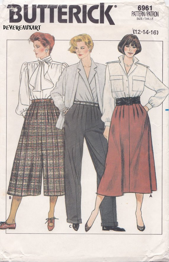 Butterick Pattern 6961 - UNCUT - Size 12-14-16 - Misses' Skirt, Culottes & Pants