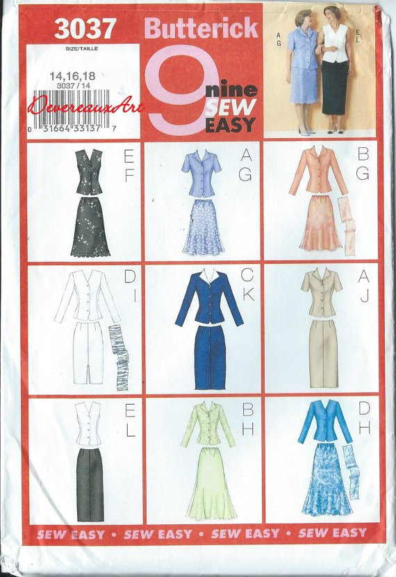 Butterick Pattern 3037 - UNCUT - Size 14-16-18 - Misses'/ Misses' PetiteTop, Skirt & Scarf