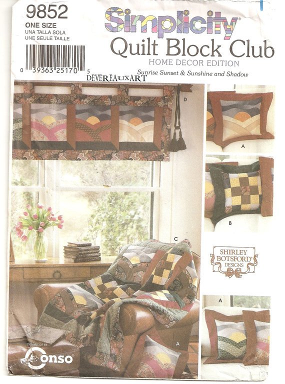 "Simplicity ""Quilt Block Club"" Pattern 9852-UNCUT-Home Decor Edition-Sunrise Sunset/Sunshine&Shadow"