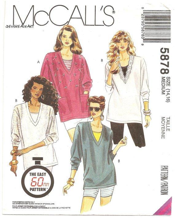McCall's Pattern 5878 - UNCUT - Size Medium (14,16) - Misses Tunics and Tank tops