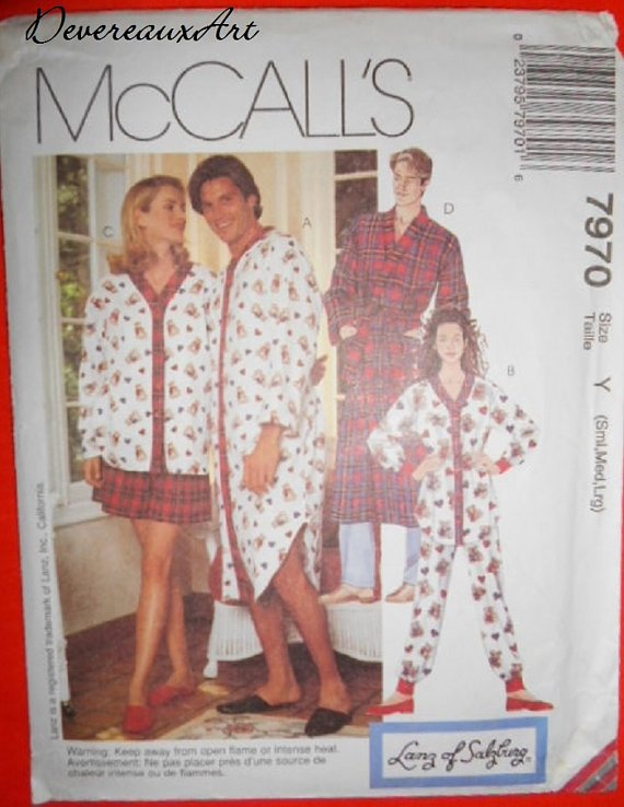 McCall's Pattern 7970-Size Y( Sml-Med-Lrg) - Misses'&Men's Nightshirt or Top, Pants,Shorts&Robe