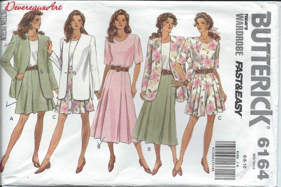 Butterick Pattern 6164- UNCUT- Size 6-8-10 - Misses'/Misses' Petite Jacket, Top, Skirt &Shorts