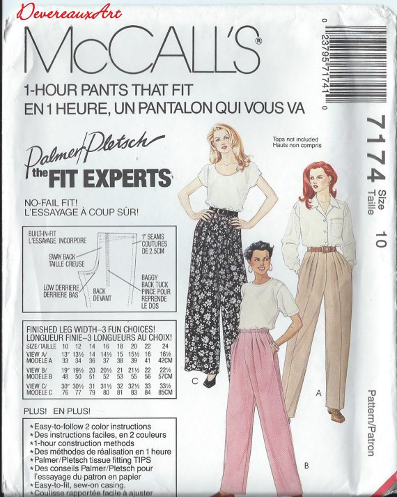 """McCall's """"Palmer/Pletsch-The Fit Expert"""" Pattern 7174 - UNCUT - Size 10 - Misses' Pull-On Pants"""