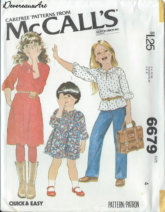 "1979 - McCall's ""Carefree"" Pattern 6679 - UNCUT - Size 4 - Children's and Girl's Dress or Top"