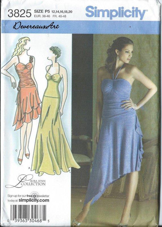 Simplicity Pattern 3825-UNCUT Size P5 (12,14,16,18,20) Misses' Knit Dress With Skirt