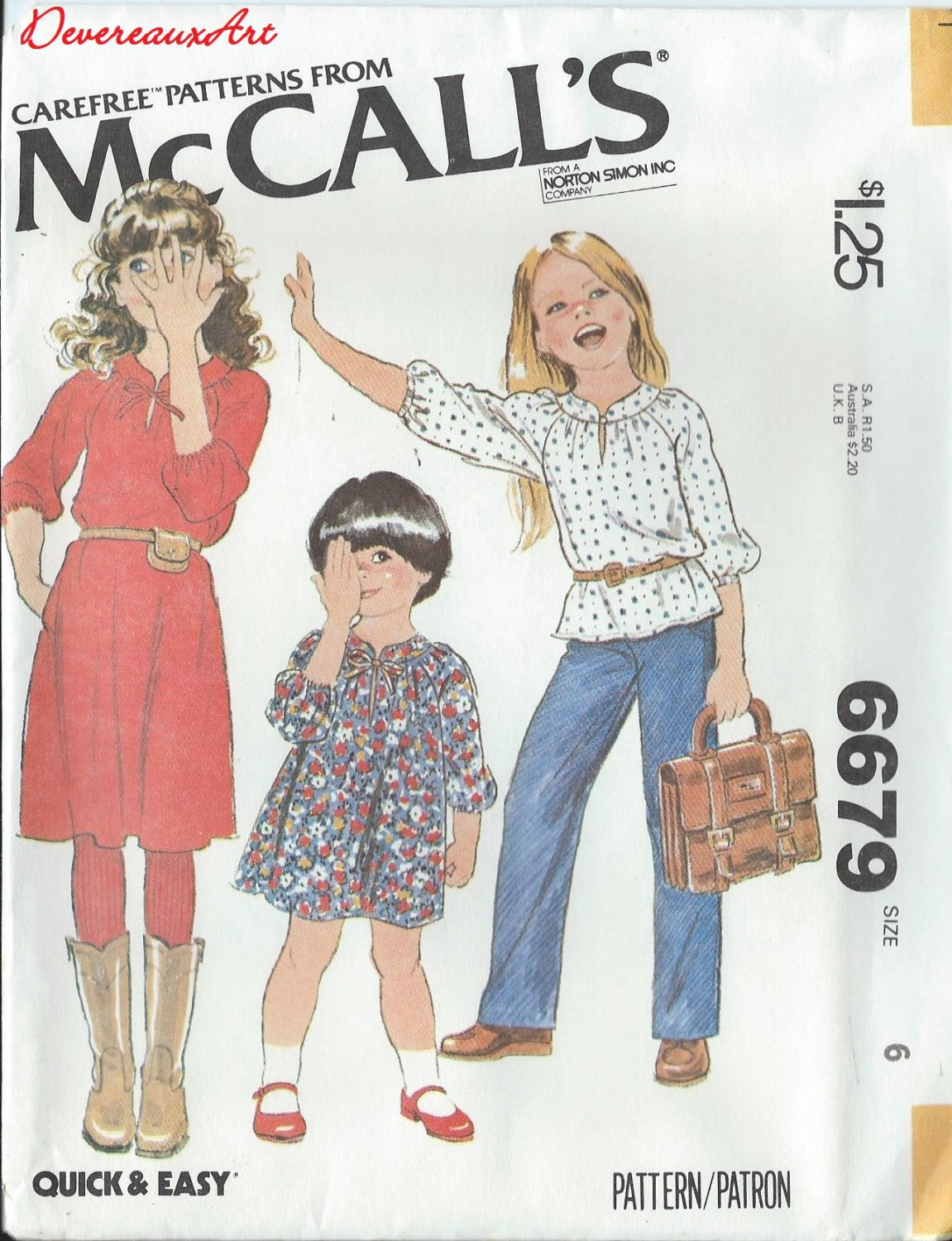 "1979 - McCall's ""Carefree"" Pattern 6679 - UNCUT - Size 6 - Children's and Girl's Dress or Top"