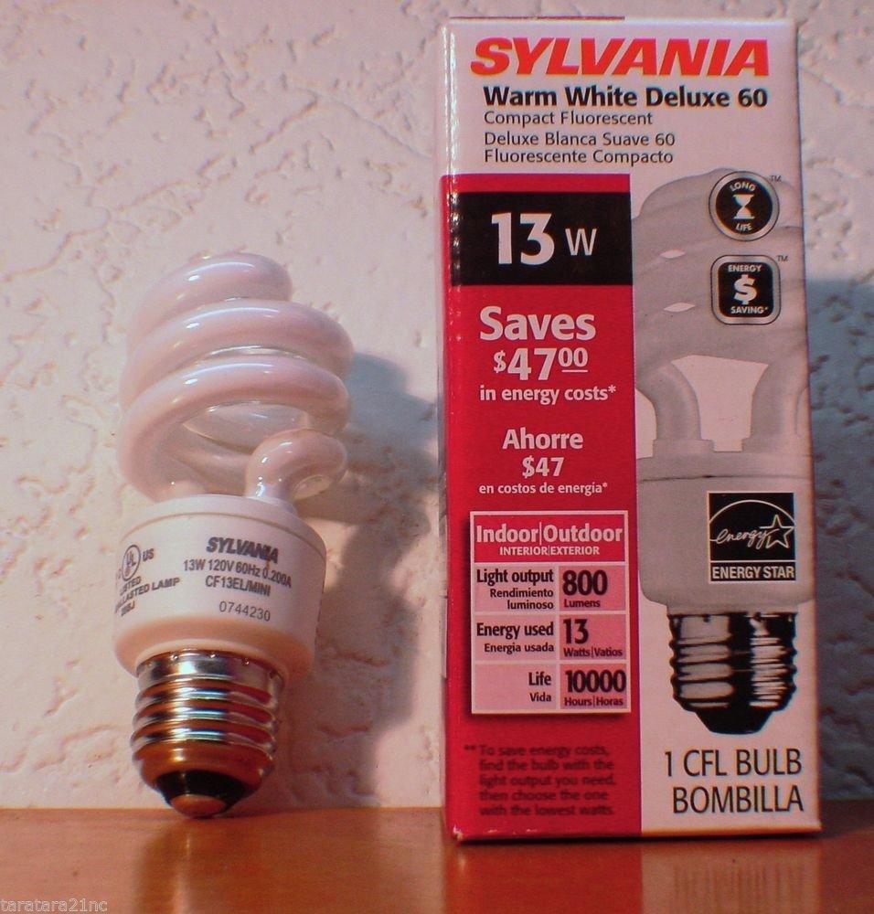 Qty 3 Sylvania Warm White 13 Watt CF13EL/MINITWIST/Y/2700K