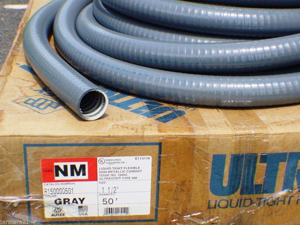 "50' x 1-1/2"" / 1.5"" Conduit Liquid-Tight Flexible Type NM Non-Metallic Grey"