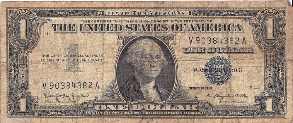 1957-B Silver Certificate $1.00 Silver note Crisp One Dollar Blue Seal
