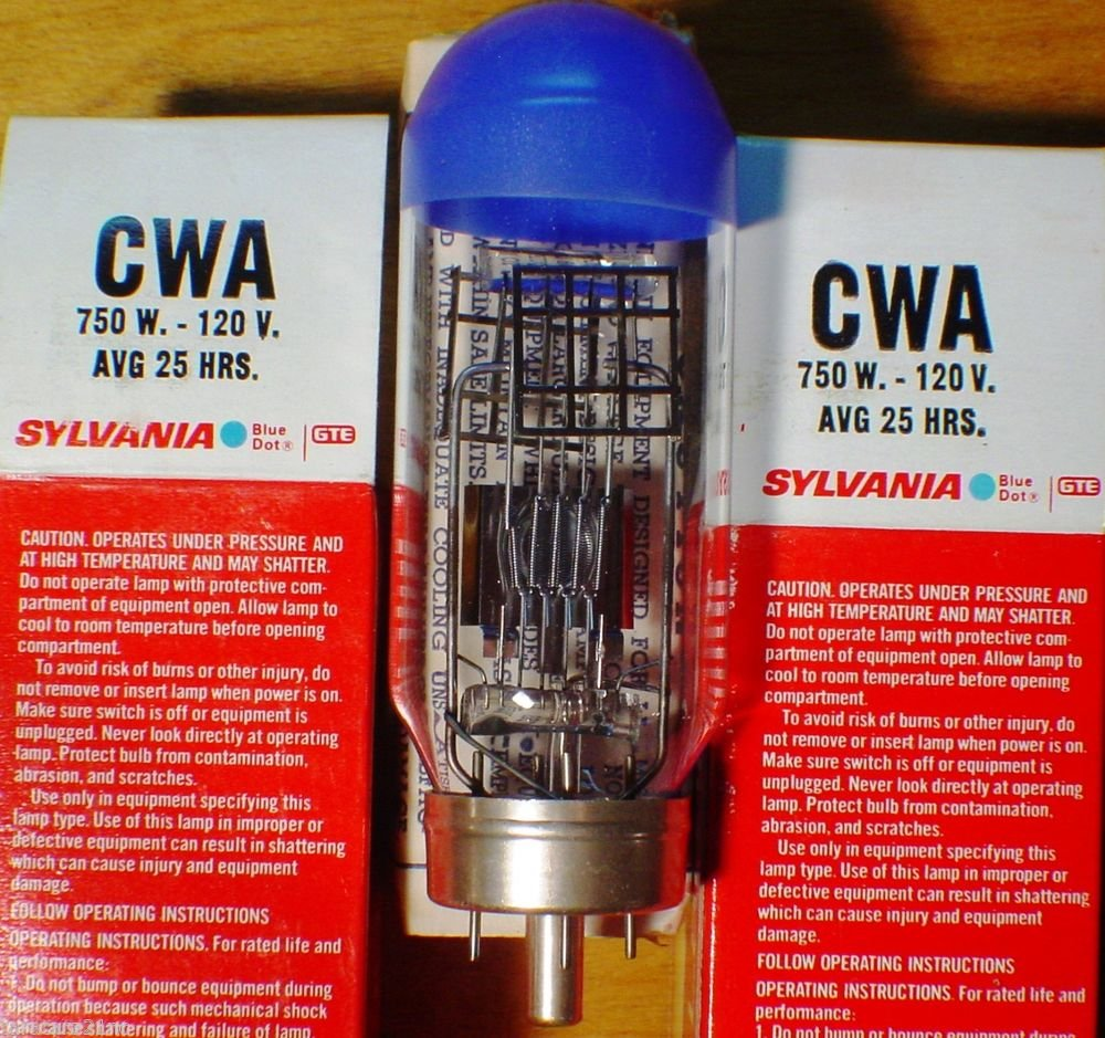 Qty 2 Sylvania CWA 750 Watt 115-120 Volt AV Photo Projector lamp Bulb  Lot of 2