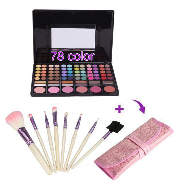 78 Color Eyeshadow Palette + 8pcs Brush Makeup Set