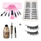 10 Pairs Long False Eyelashes 7pcs Makeup Brush Set Beauty Bag Waterproof Liquid Eyeliner Pen
