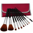 10pcs Professional Cosmetic Makeup Brush Set with Bag Peachblossom Red