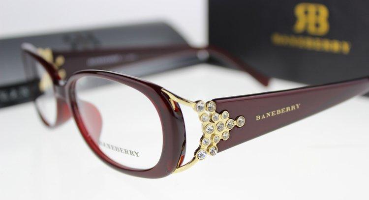 Women Full-Rim Eyeglasses Frame With Floral Glasses Frame Acetate Optical Frames Wine Red
