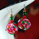 national style rose cloth earrings