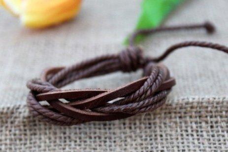 Korean style revival handmade ox skin leather lovers' bracelets