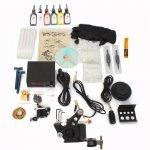 1 Gun Tattoo Machine Kit LCD Power Supply 6 Inks