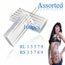 100pcs Assorted Professional Sterilized Tattoo Needles RL RS