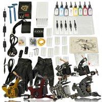 6 Gun Tattoo Machine Kit Needles Grips Tips 8 Inks TM01005