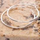 "2"" Charming White Copper Silver Plated Smooth Hoop Earrings"