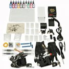 2 Guns Tattoo Machine Kit Needles Grips Tips 10 Inks