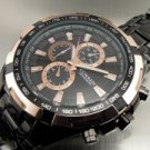 Business Men 8023 Waterproof Stainless Steel Quartz Wrist Watch Black Golden