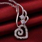 Angle's Heart Pendant Shape Environmental Copper Female Women's Necklace Silver