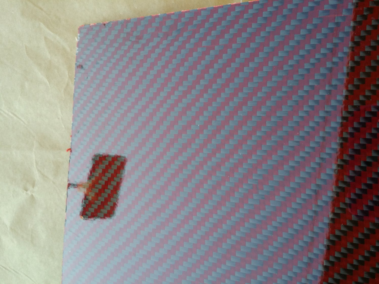 """Carbon Fiber Panel 6""""x24""""x2mm Both Sides Glossy red"""
