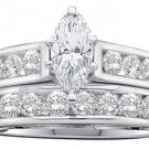 WOMENS DIAMOND ENGAGEMENT RING WEDDING BAND BRIDAL SET 1 CARAT MARQUISE CUT