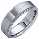 MENS WEDDING BAND ENGAGEMENT RING WHITE GOLD SATIN FINISH MILGRAIN 6mm