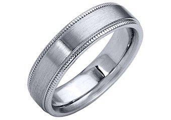 MENS WEDDING BAND ENGAGEMENT RING WHITE GOLD SATIN FINISH MILGRAIN 5mm