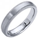 MENS WEDDING BAND ENGAGEMENT RING WHITE GOLD SATIN FINISH MILGRAIN 4mm