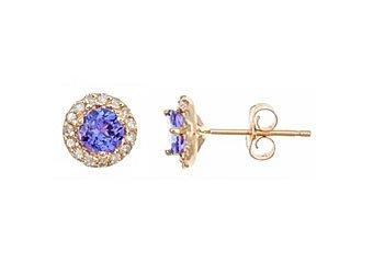 .73 CARAT TANZANITE DIAMOND STUD HALO EARRINGS 4mm BRILLIANT ROUND YELLOW GOLD