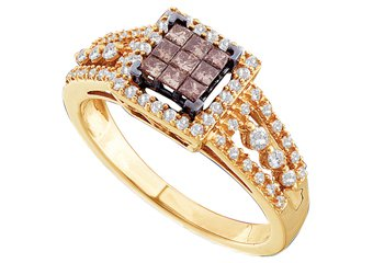 WOMENS BROWN CHAMPAGNE INVISIBLE SQUARE DIAMOND WEDDING BAND RING YELLOW GOLD