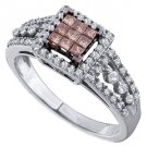 WOMENS BROWN CHAMPAGNE INVISIBLE SQUARE DIAMOND WEDDING BAND RING WHITE GOLD