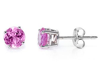 PINK SAPPHIRE STUD EARRINGS EAR RINGS 5mm BRILLIANT ROUND CUT 14KT WHITE GOLD