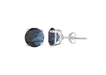 3.6 CARAT LABRADORITE STUD EARRINGS 8mm BRILLIANT ROUND CUT 925 SILVER