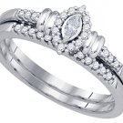WOMENS MARQUISE CUT DIAMOND PROMISE HALO RING WEDDING BAND BRIDAL SET .22 CARAT