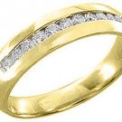 MENS 1/2 CARAT BRILLIANT ROUND CUT DIAMOND RING WEDDING BAND 14KT YELLOW GOLD