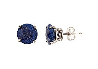 4.9 CARAT CHECK TOP LAPIS STUD EARRINGS 9mm ROUND CUT 925 STERLING SILVER